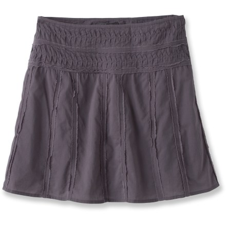 The prAna Erin skirt is made from a woven cotton with easy-going raw edge detail and pintucking at the waistband--it's fun, kicky and comfortable! - $14.83