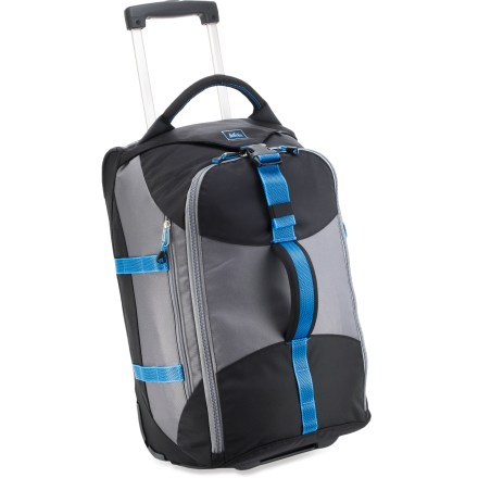 Entertainment The REI Wheely Beast 21 is a friendly and fun, yet rugged and practical carryon luggage option. It offers easy loading and a dependable handle and wheel system, and fits in most airline overhead bins. - $88.93