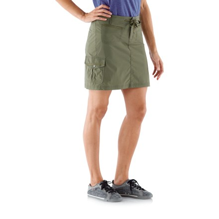 The REI Aldervale Cargo skirt travels and wears well, no matter what's on the day's agenda. You' love the subtle A-line silhouette and slim, lean fit it offers. Woven 2-way stretch fabric is abrasion resistant, quick drying and easy to care for; it provides UPF 50+ sun protection, shielding skin from harmful ultraviolet rays. Drawcord at the waist adjusts the fit of the REI Aldervale Cargo skirt; easy on/off with a zip fly and snap closure. Small pockets at front yoke fit a credit card or room key; also includes a snap-flap cargo pocket at right leg and 2 back welt pockets. - $40.93