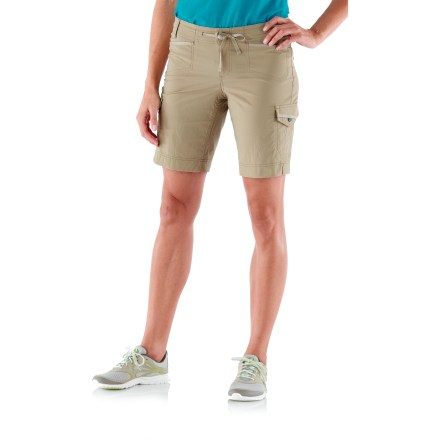 Camp and Hike The REI Aldervale shorts travel and wear well, so there's nothing stopping you or the day's activities from progressing as planned. Woven 2-way stretch fabric is abrasion resistant, quick drying and easy to care for; it provides UPF 50+ sun protection, shielding skin from harmful ultraviolet rays. Drawcord at the waist adjusts the fit; easy on/off with a zip fly and snap closure. Small pockets at front yoke fit a credit card or room key; also includes snap-flap cargo pockets and 2 top-entry back pockets. Side seams wrap to the front with hem vents for added movement and style. REI Aldervale shorts feature a slim, lean fit; back darts shape the waist for a smooth fit. - $37.93