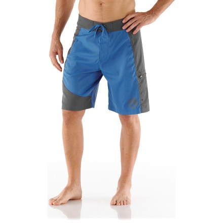Surf Surf a wave, kayak across the bay or catch some rays on the beach with the REI Bolongo board shorts. Polyester fabric dries quickly and provides UPF 50+ protection from harmful solar rays. Fabric has built-in stretch to allow great range of movement. Includes a drawstring waist and rip-and-stick fly. Stow a few small essentials in the zippered cargo pocket; drain holes keep the pocket from holding water. The REI Bolongo board shorts have a classic fit that's cut just right for easy wearing. - $45.00