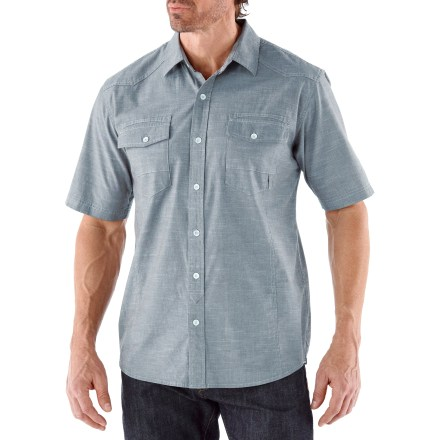 With a soft hand and casual look, the REI Palomar shirt will be a new favorite for adventures across town. Cotton is blended with a bit of spandex for comfortable stretch; fabric is garment-washed for a soft hand. Hang the shirt up to dry on the exterior cord lockerloop. The REI Palomar shirt has a classic fit that is cut just right for easy wearing. - $49.50