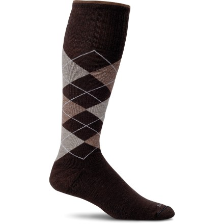 Entertainment Sockwell Argyle Compression socks offer moderate graduated leg compression. Compression improves blood flow, flushes lactic acid and reduces fluid built-up. Gradient compression is greatest at the ankles and gradually decreases toward the tops of the socks; blood pushes upward toward your heart, maximizing circulation. Moderate (15 - 20 mmHg) compression is recommended for all day and everyday wear, prolonged sitting or standing, travel, exercise and recovery and minor to moderate swelling. Fiber blend balances the durability and thermoregulation properties of wool with naturally antimicrobial and luxurious bamboo. Spandex used throughout the entire sock ensures a snug fit all day long and helps prevent slipping in the shoe. Seam-free toe closures ensure that you don't even notice they are there. Turn welt tops help keep the socks up and gives if you want a clean, finished appearance to the top of the sock. Spandex bands knitted into the arch areas of the Sockwell Argyle Compression socks provide support to the arches and reduce sock slippage on the foot. Y-heel construction contours the heels more exactly to the foot and helps reduce the incidence of the sock slippage into the shoe. *Discount will be applied when you check out. Offer not valid for sale-price items ending in $._3 or $._9. - $24.95