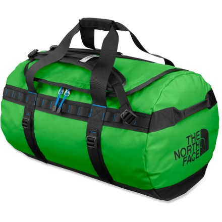 Camp and Hike Making quick work of your gear, this medium-size Base Camp duffel from The North Face is a rugged, versatile hauler of all things adventure, offering enough room for your basics. Main compartment features a D-shape zippered opening for high visibility and easy access to the interior; internal mesh pockets enhance organization. Duffel-style handles and twin haul handles on ends provide carrying options and can be used for towing or tying down when traveling. Shoulder straps provide comfortable, easy hauling as a backpack. 4 side compression straps secure load and stabilize bag when traveling. Dual daisy chains along sides let you lash on extra gear or tie onto roof, boat or yak. Locking zippers protect your possessions, locks not included; ID pocket on top ensures positive identification. Constructed of water- and abrasion-resistant, 1000-denier polyester with PVC-free thermoplastic elastomer coating to withstand the abuse of travel. Closeout. - $100.93