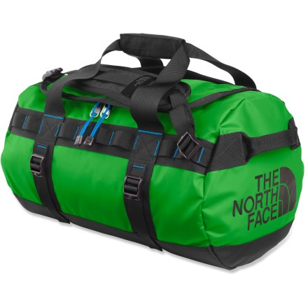 Camp and Hike The North Face Base Camp extra-small duffel is just the right size to haul your essential equipment on your next adventure. Main compartment features a D-shaped zippered opening for easy access and high visibility to the interior; internal mesh pockets offer extra organization. Duffel-style handles and twin haul handles on ends provide carrying options and can be used for towing or tying down when traveling. Alpine-style shoulder straps provide comfortable, easy hauling as a backpack. 4 side compression straps secure load and stabilize bag when traveling. Locking zippers protect your possesions (locks not included); ID pocket on top provides quick identification. Made of highly water- and abrasion-resistant thermoplastic elastomer tarpaulin and ballistic nylon fabrics; ruggedly constructed with extra bar tacks and double stitching. Closeout. - $74.93