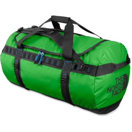 Camp and Hike This large Base Camp duffel from The North Face is expedition-ready, thanks to burly construction and cavernous space, swallowing gear for trips to Greenland or Greensboro. Main compartment features a D-shape zippered opening for high visibility and easy access to the interior; internal mesh pocket enhances organization. Duffel-style handles and twin haul handles on ends provide carrying options and can be used for towing or tying down when traveling. Shoulder straps provide comfortable, easy hauling as an occasional backpack. 4 side compression straps secure load and stabilize bag when traveling. Dual daisy chains along sides let you lash on extra gear or tie duffel onto roof, boat or yak. Locking zippers protect your possesions (locks not included); ID pocket on top ensures positive identification. Constructed of water- and abrasion-resistant, 1000-denier polyester with PVC-free thermoplastic elastomer coating to withstand the abuse of travel. Closeout. - $107.93