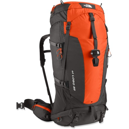 Camp and Hike The North Face El Lobo 60 pack is designed to complement your body's natural movements as you twist and turn, which lessens your strain on rough trails. Great for multiday trips. X Radial(TM) 2.0 suspension uses a tubular, pivoting X-shape aluminum frame that follows the body's natural twisting and bending movements. Moving with you to distribute the load is the unique, dual-pivot hipbelt featuring a 3-point closure that cinches with a natural forward pulling motion. Compression-molded foam hipbelt and shoulder straps are wrapped in moisture-wicking Dri-Lex(R) fabric to keep you comfortable while carrying heavy loads. Top-loading pack has a removable top pocket that converts to a large lumbar pack with its own hipbelt. Large front stretch drop pocket with a secondary zip pocket secures your jacket and maps. Stretch-woven side pockets hold your water bottles, snacks and often-accessed essentials. Bottom zippered compartment with a trampoline divider separates gear from sleeping bag. The North Face El Lobo 60 pack features a daisy chain and multiple lash points for attaching gear externally. Anatomic cranial cavity at the top of pack gives your head freedom of movement-no more staring at the ground! Dual side compression straps and bottom compression straps cinch down the load for jostle-free carrying. Hydration-compatible design features reservoir pocket and drink tube exit port for on-the-go hydration (reservoir not included). Closeout. - $99.93