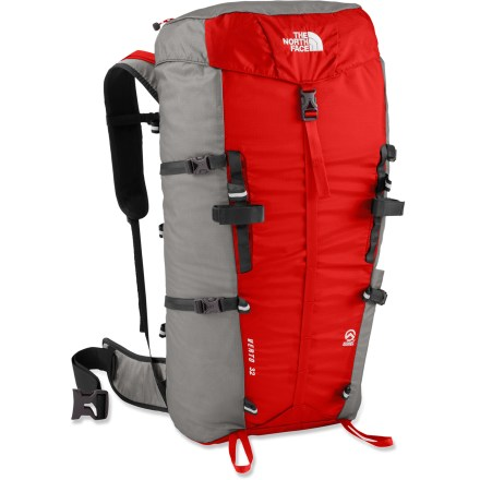 Camp and Hike Whittled down to the bare minimum, this tough Verto 32 pack from The North Face has been designed with athlete input to comfortably haul just your summit day essentials. Triple-point compression system lets the Verto 32 double as a stuff sack for your sleeping bag. 2 zippered pockets and a water bottle pocket organize small accessories. Pack features a hydration exit port (reservoir not included). The North Face Verto 32 pack features multiple reflective lash points and dual ice axe loops. Packs into own pocket for travel. Closeout. - $73.73