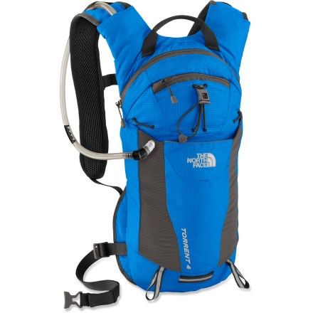 "Camp and Hike The North Face Torrent 4 hydration pack helps keep you hydrated and feeling light as a feather. It features a comfortable harness and just enough space to carry your outdoor essentials. Comfortable shoulder straps and vented back panel offer all-day comfort; webbing hipbelt adds stability. Innovative ""doughnut"" reservoir features a hole in the middle that enhances ventilation and helps prevent bulging. Fleece-lined media pocket provides a cozy nest for your smart phone or music player. The North Face Torrent 4 hydration pack features a stash pocket and attachment points for a helmet and trekking poles on the front panel. Closeout. - $66.93"