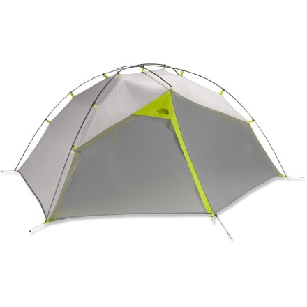 Camp and Hike Hit the trail with The North Face single-wall Phoenix 2 tent. This backpacking tent is a light, freestanding 2-person abode with nice space around the head and shoulders. DryWall(TM) proprietary single-skin fabric has high breathability, high tensile strength, and a Durable Water Repellent finish. DryWall is inherently fire resistant which eliminates the need to add fire retardant to its polyurethane coating; this saves weight and increases breathability and strength. Double doors and vestibules ease access, provide storage and enhance cross-ventilation options. High-low ventilation design harnesses convection and cross flow to help expel moisture vapor and prevent interior condensation. Pole twist clips make tent pitching and disassembly simple and fast, while saving weight. Light yet strong, DAC Featherlite(R) NSL poles are anodized without the use of harmful acids. Reverse-combi poles change the pole arcs to allow the tent walls to be steeper; tent's livable space is maximized for greater comfort and headroom. Handy interior loops allow you to hang your headlamp and other accessories; polyurethane windows (one in each vestibule) let light in and allow a view to the outside. Phoenix 2 includes stuff sacks, DAC stakes and guyline/tighteners. Closeout. - $229.93