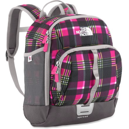 Camp and Hike Slip The North Face Sprout pack onto wee adventurers' backs and watch them enjoy all the adult-worthy features that make them proud to carry their own pack. Shoulder straps are sized and shaped specifically for a small child's frame; easy-to-use sternum strap complements the shoulder straps' posture. Main compartment features a convenient internal mesh organizer pocket. Side mesh pockets hold water bottles or snacks; large grab handle on the front lets parents corral speedy little explorers. The North Face Sprout pack features a reflective light attachment loop for enhanced visibility (safety light not included). Closeout. - $25.93