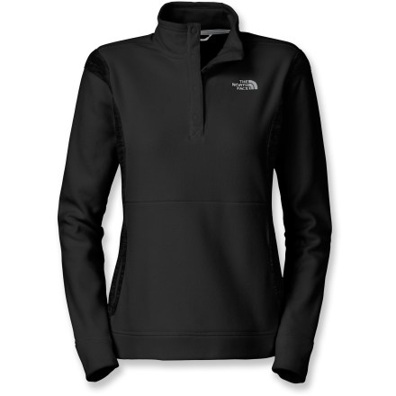 The TKA 100 Microvelour Snapneck sweater by The North Face has a supremely soft hand and impressive efficiencies over the original TKA microfleece fabric. Updated Polartec(R) TKA 100 microfleece provides 10% more warmth at 27% less weight than the original TKA 100, making it 50% more thermally efficient. It's also 24% more breathable and 18% more compressible, giving way to 23 cu. in. of pack space savings. TKA 100 Microvelour Snapneck sweater provides warmth without the weight of traditional insulating fabrics, and is highly breathable for comfort during activity. Pill-resistant top also dries quickly to minimize heat loss. Fabric provides UPF 30 protection from harmful solar rays. Tall neck snaps up for warmth or down for venting. Kangaroo pocket keeps hands cozy. Closeout. - $40.93