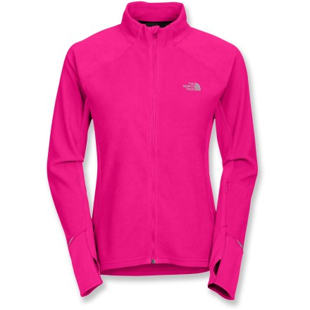 The North Face TKA 80 full-zip jacket features warm, lightweight microfleece and highly breathable mesh panels so that you can get outside to do your workout even in cold weather. Soft polyester microfleece offers lightweight, thermally efficient performance for good insulation without bulkiness. Stretchy polyester mesh panels at sides and on back enhance breathability and freedom of movement and offer fast moisture-transfer. Regulate comfort with the full-length zipper with an inside windflap that doubles as a chin guard; tall collar keeps neck warm. Thumbholes secure sleeves over hands for warmth. Forearm zip pocket keeps ID, tunes or other small essentials easily accessible on the go. The North Face TKA 80 full-zip jacket for women sports reflective detailing that increases your visibility in low light. Closeout. - $44.93