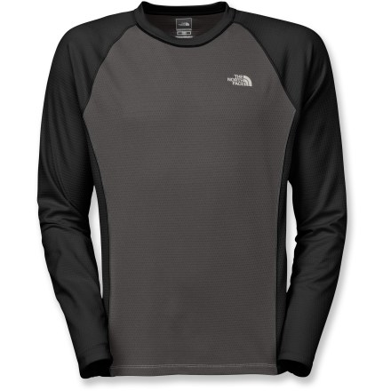 The North Face Split Crew T-shirt uses lightweight, quick-dry materials and performance-oriented details to keep up with you every step of the way, whether your goals are about distance or speed. Polyester honeycomb fabric is infused with FlashDry(TM) volcanic minerals to boost wicking and drying times. With a UPF 30 rating, fabric provides very good protection against harmful ultraviolet rays. Underarm gussets and stretch fabric encourage free range of motion. The North Face Split Crew T-shirt has flatlock seams for chafe-free comfort. Closeout. - $40.73
