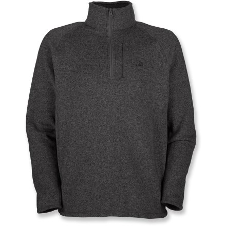 The North Face Gordon Lyons quarter-zip fleece sweater pullover is a versatile top that will keep you warm as you travel abroad. Heavyweight polyester fleece fabric insulates well and dries quickly when wet. Fabric provides UPF 50+ sun protection, shielding skin from harmful ultraviolet rays. Zippered chest pocket is sized to fit a passport or digital music player. Brushed interior of the collar feels great next to skin. Underarm gussets allow comfortable motion. The North Face Gordon Lyons quarter-zip fleece sweater has flatlock seams that maximize motion and minimize abrasion. Closeout. - $31.73