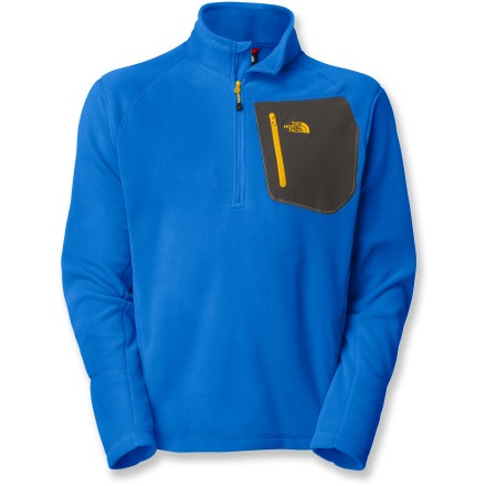 The North Face TKA 100 Classic Trinity Alps half-zip pullover is a perfect layering choice. Wear as an outer layer on cool but pleasant days; when it gets colder it's a great base or mid layer. Polartec(R) TKA 100 microfleece is both warm and comfortable. Fabric is highly breathable and compressible. Pill-resistant top dries quickly to minimize heat loss. With a UPF 30 rating, fabric provides very good protection against harmful ultraviolet rays. Underarm gussets allow good mobility. Zippered chest pocket. Closeout. - $40.93