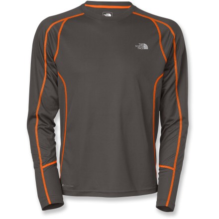 Fitness Reach for The North Face GTD Long-Sleeve T-shirt for your high-octane pursuits in mild weather conditions. Polyester fabric keeps up with hard-working pores, taking moisture from your skin and moving to the outside surface for quick evaporation. FlashDry(TM) fabric additive dramatically improves drying time and breathability without adding weight or bulk or washing out. Body mapping provides varying degrees of warmth, moisture transfer and ventilation to match the needs of the body. Reflective logos of The North Face GTD Long-Sleeve T-shirt increase your visibility in low light, and a UPF rating of 30 helps protect your skin in bright sunlight. Closeout. - $29.93