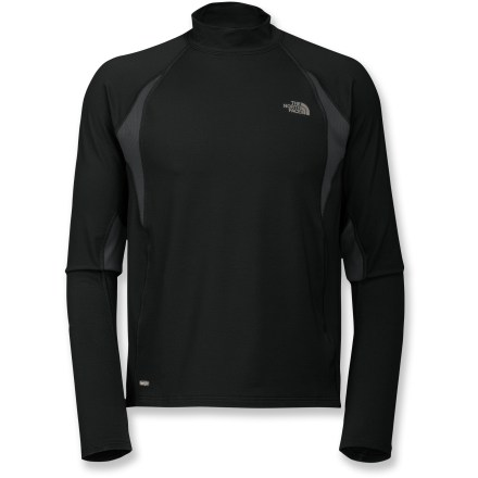 Fitness Whether you wear it as a baselayer in cold weather or by iteslf in more temperate climates, the Impulse Mock Neck shirt from The North Face keeps you comfortable during all your outdoor pursuits. VaporWick(R) polyester and elastane blend fabric offers 4-way stretch, wicks moisture away from skin and dries quickly. With a UPF 50+ rating, fabric provides very good protection against harmful ultraviolet rays. Raglan sleeves offer a comfortable, nonbinding fit; thumbholes keep sleeves in place and help keep hands warm. Hem is slightly longer in back than front, increasing coverage for active sports. The North Face Mock Neck shirt feature reflective highlights to increase your visibility in low light. Flatlock seams reduce chafing and increase durability. Closeout. - $27.83