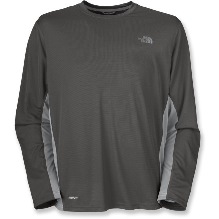 Fitness The North Face Flex crew T-shirt gives you long-sleeve coverage in a lightweight breathable mesh that wicks away moisture; in other words, it'll keep you happier during sweaty workouts. Mesh side panels increase ventilation. Hem is slightly longer in back for better coverage while cycling. The North Face Flex crew T-shirt has flat-locked seams so fabric is smooth against your skin. Fabric provides UPF 30 sun protection, shielding skin from harmful ultraviolet rays. Closeout. - $23.93