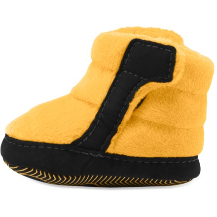 Entertainment The North Face NSE infant booties keep little feet safe and warm in a cocoon of coziness, keeping your infant ready for fun even in cold weather. Lightweight Heatseeker(TM) synthetic insulation keeps little toes warm; fleece uppers and lining add warmth and feel soft against skin. Higher cuff provides additional coverage; rip-and-stick closures on both sides of the shoes ease on-and-off transitions. Synthetic bottoms on the North Face NSE booties are soft and flexible, allowing room for fast-growing feet; nonskid applique on outsoles helps provide grip. Closeout. - $13.73