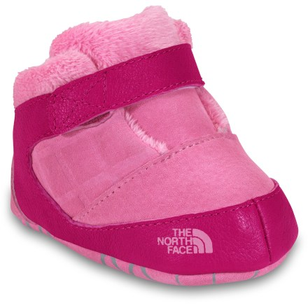 Entertainment Designed for tiny feet, The North Face Havoc Booties for infants keep their feet warm during their first winter. Suede uppers are soft and flexible; split suede bottoms are flexible enough to make allowances for fast-growing feet. Soft fleece lining offers maximum comfort. The North Face Havoc booties feature a rip-and-stick closure for speedy on-and-off. Closeout. - $13.73