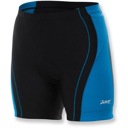 "Fitness The Zoot Performance 6"" Tri shorts are a popular choice for running, swimming and biking for training or race day. Nylon/spandex construction provides excellent muscle support to reduce muscle fatigue and extend endurance. All seams utilize specialized technology to reduce chafing and increase durability, and fabric protects skin against harmful sunlight with a UPF 50+ rating. Soft fleece pad boosts your comfort in the saddle, and its low-bulk design won't hinder leg movement. Pad is also treated to fight odors and won't soak up water on the swim. Drawcord elasticized waistband provides a secure fit. 4-way stretch offers an unrestricted range of motion. Specialized hems eliminate the need for elastic grippers, allowing a less restrictive, more comfortable fit. 2 easily accessed hip holster pockets integrated into side panels provide secure storage of small essentials and energy food. The women's Zoot Performance Tri shorts offer a next-to-skin fit. Closeout. - $48.73"