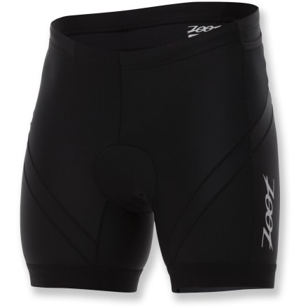 Fitness The Zoot Performance 6 in. Tri shorts support and enhance your performance in all 3 disciplines. Nylon/spandex construction provides excellent muscle support to reduce muscle fatigue and extend endurance. All seams use specialized technology to reduce chafing and increase durability, and fabric protects skin against harmful sunlight with a UPF 50+ rating. Soft fleece pad boosts your comfort in the saddle, and its low-bulk design won't hinder leg movement. Pad is also treated to fight odors and won't soak up water on the swim. Drawcord elasticized waistband provides a secure fit. 4-way stretch offers an unrestricted range of motion. Specialized hems eliminate the need for elastic grippers, allowing a less restrictive, more comfortable fit. 2 easily accessed hip holster pockets integrated into side panels provide secure storage of small essentials and energy food. The Zoot Performance Tri shorts offer a next-to-skin fit. Closeout. - $48.73
