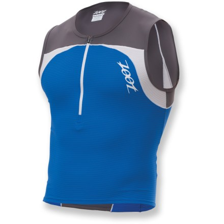 Fitness The Zoot Performance Tri Mesh top for men provides essential support for training and racing, without sacrificing style. Moisture-wicking, quick-drying mesh body fabric provides maximum ventilation. Upper back and shoulder panels protect skin from damaging sunlight with a UPF rating of 50+. 10 in. zipper offers ventilation and features soft-finish binding. Flatlock seams reduce chafing and increase durability. Zoot Performance Tri Mesh top features side pockets that neatly stash small fitness essentials. Closeout. - $23.73