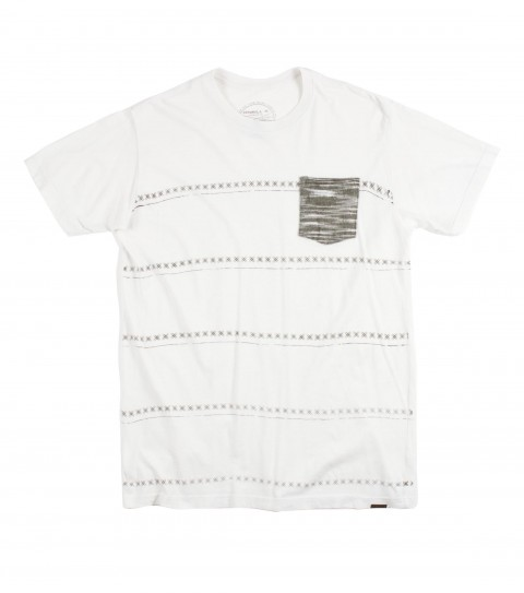 Surf O'Neill Swift Street Shirt.  100% Ringspun Cotton.  30 singles modern fit garment dyed tee with softhand screenprinted stripes and attached pocket with label. - $17.99