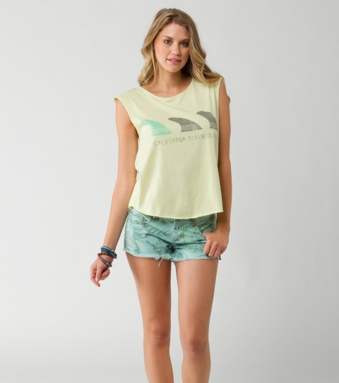 Surf O'Neill Stella Tank.  100% Cotton jersey; with heavy enzyme wash; distressed graphic at front chest; back cut out detail; raw edges; metal logo badge. - $22.99