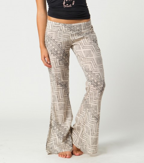 "Surf O'Neill Meadow Pants.  100% Viscose woven.  Printed; 33"" inseam bell fit; V-shaped waistband detail at front; smocked in back; metal logo badge. - $46.00"