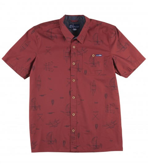 Surf Jack O'Neill Harpoon Shirt.  100% Cotton poplin printed short sleeve shirt. Polynesian watercraft inspired print on a soft peached poplin fabric. Faux wood buttons with chambray interior details. Standard fit. - $29.99