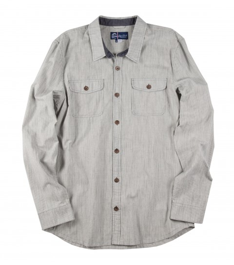 Surf Jack O'Neill Tupelo Shirt.  100% cotton yarn dye long sleeve shirt. Slub fabric with subtle vertical stripe. Faux wood buttons with chambray interior details. Standard fit. - $32.99