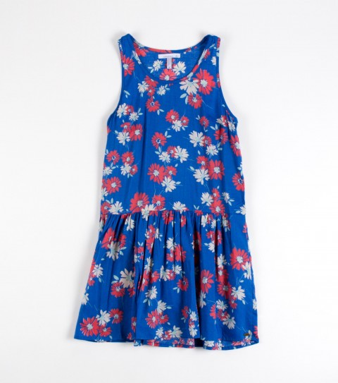 Entertainment O'Neill Girls Sophia Dress.  100% Viscose woven.  Printed; drop waist with ruffle; racer back; front darts; metal logo badge. - $38.00