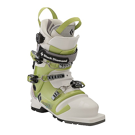 Ski Free Shipping. Black Diamond Women's Trance Ski Boots DECENT FEATURES of the Black Diamond Women's Trance Ski Boots Female-specific construction, less touring resistance and softer flex than Freeride Series telemark boots Triax Tour Frame with Flex 100, MidStiff bellows and locking QuickWire cuff buckles Optimized ankle flexion for an ideal balance of cuff-to-bellows flex Women's Efficient Fit Tele Liner with 1:1 Boa closure system features a warm aerogel-insulated Strobel base and articulating zones for touring comfort Compatible with 3-pin bindings 102 mm V-shaped last The SPECS Weight: per pair: 7 lbs / 3.05 kg Size Range (Mondo, in Half Sizes Only): 23.5-26.5 Liner: Efficient Fit Tele - Women's Frame Technology: Triax Tour Flex Index: 100 Bellows: MidStiff # Buckles: 3 - $599.95