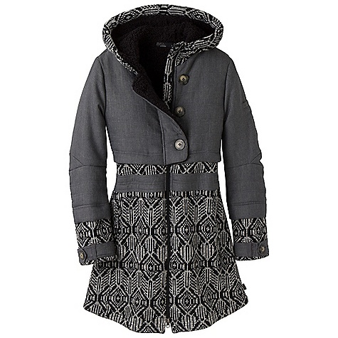 On Sale. Free Shipping. Prana Women's Mischka Jacket DECENT FEATURES of the Prana Women's Mischka Jacket Novelty fabrics combine to create a functional cold-weather jacket Water-resistant quilted woven at chest with light fill Cozy sherpa lining Sweater jacquard knit at sleeves and body Standard fit The SPECS Woven-100 Polyester with DWR coating / Sherpa-100 Polyester / Sweater knit-64 Polyester / 36 Acrylic - $278.99