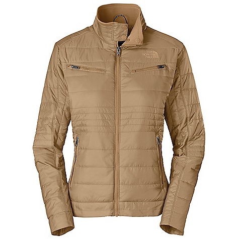 Free Shipping. The North Face Women's Midori Moto Jacket DECENT FEATURES of The North Face Women's Midori Moto Jacket Rib at inside of collar Two zip chest pockets Two zip hand pockets with media egress at left-hand pocket Snap closure at neck Embroidered logo at left chest and back right shoulder The SPECS Average Weight: 15 oz / 430 g Center Back Length: 24in. Body: 40D 60 g/m2 100% nylon taffeta with DWR Lining: 40D 70 g/m2 100% nylon taffeta Insulation: 80 g Heatseeker This product can only be shipped within the United States. Please don't hate us. - $139.95