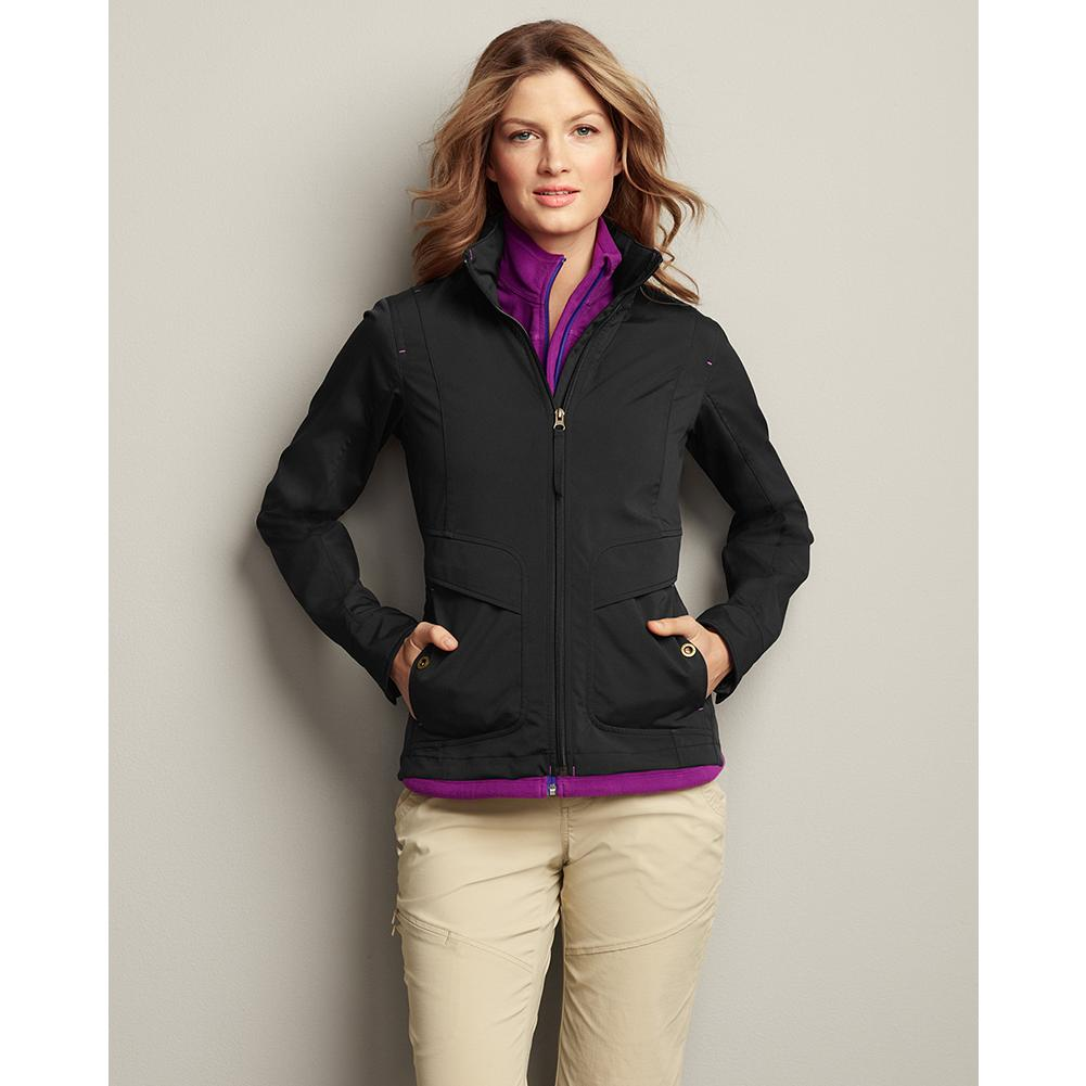Eddie Bauer Travex Soft Shell Jacket - On-the-go utility with a feminine fit - the perfect travel jacket. The stretch polyester/spandex fabric is lightweight and both wind- and water-resistant. Our StormRepel durable water-repellent (DWR) finish causes moisture to bead on the surface and roll off or evaporate rather than soak into the fabric. The adjustable hood stows easily in the collar when not in use. - $99.00