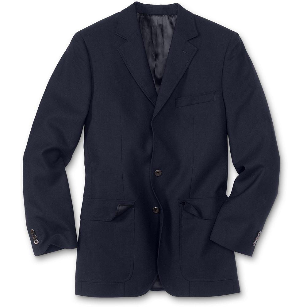 Entertainment Eddie Bauer Sportsman Navy Wool Blazer - We make our two-button blazer to be an instant classic. We use luxurious, superfine 100s wool because it's naturally wrinkle-resistant and the ideal weight for year-round wear. Then we tailor the fit and build it to last with superior craftsmanship that includes an interior cell phone/wallet pocket and exterior flap pockets. Imported.. - $89.99