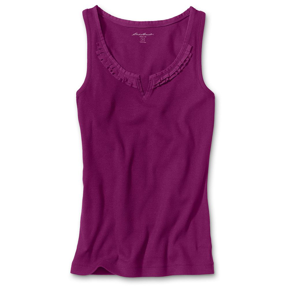 "Surf Eddie Bauer Ribbed Split-Neck Tank Top - Split neck with refined ruffle detail trim. Soft cotton with a hint of spandex. Shaped fit. Length: 26"". Imported. - $9.99"