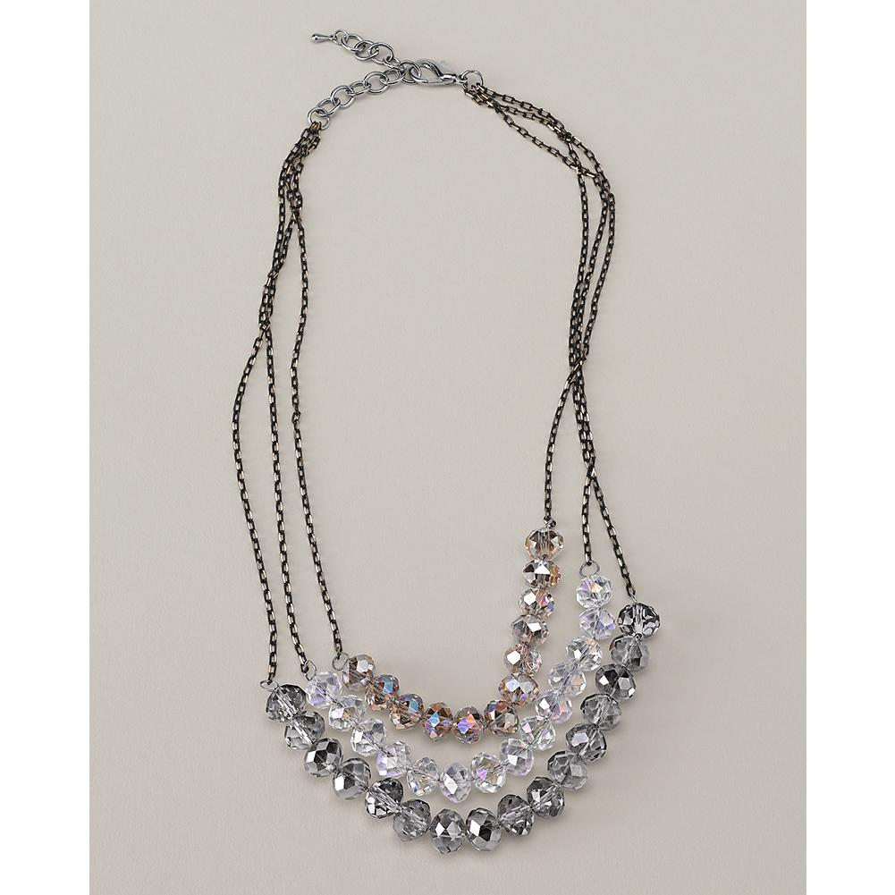 Entertainment Eddie Bauer Three-Strand Shimmer Necklace - Three delicate chains with faceted glass stones catch the light to create a soft, glistening effect in this shimmering necklace. - $19.99