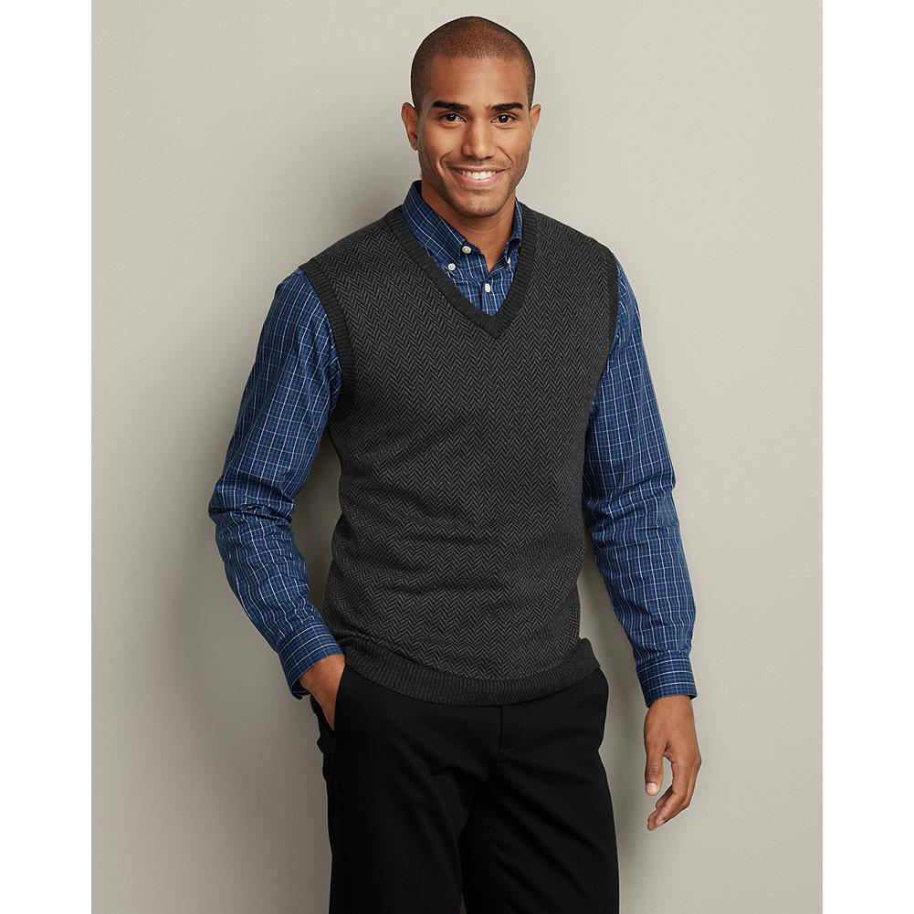 Entertainment Eddie Bauer Sportsman Cotton/Cashmere Herringbone Sweater Vest - A beautiful herringbone pattern knit gives this sweater vest an elevated sportsman feel. Our cotton and cashmere sweaters are the perfect complement to our wrinkle-free dress shirts and more. - $19.99