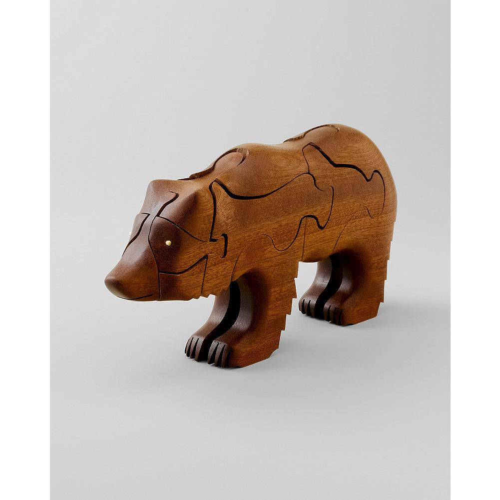 Entertainment Eddie Bauer 3D Bear Puzzle - Handcrafted in fine mahogany, our puzzle features a grizzly bear with a surprise salmon inside - a signature detail of its creator, Peter Chapman. - $59.99