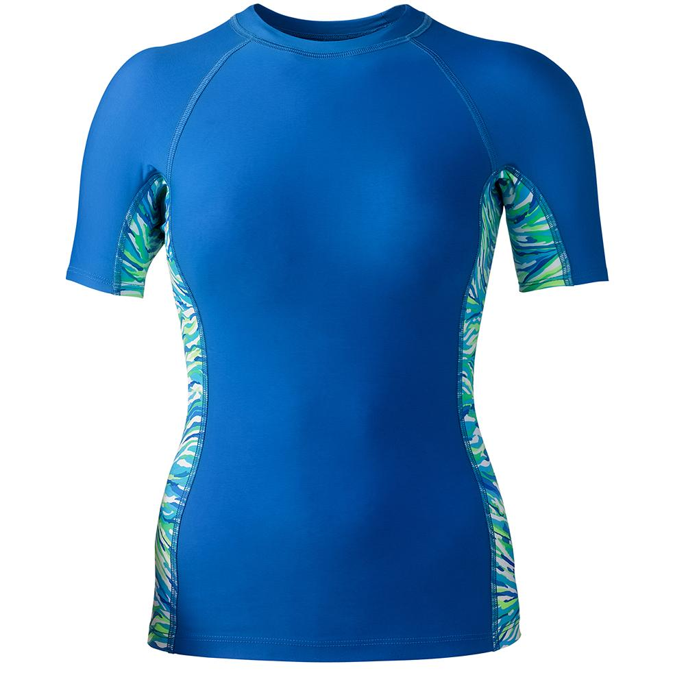 Next by Athena Paintbrush Rash Guard - Next by Athena's mix-and-match pieces enable you to create your own unique look. Rash guard provides great coverage and features a patterned side panel and the Eddie Bauer logo on the back. Imported. - $14.99
