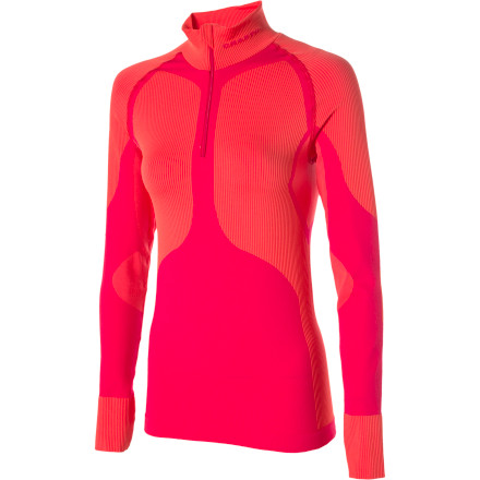"Fitness It takes a Swedish company to make base layers that are only supposed to come out when the temperature hits the 30's (and lower!) That's the beauty of the Craft Women's Pro Warm Mock Neck Base Layer. It's rated for use from 30 degrees down, and it's an essential piece of your wardrobe when you choose the great, icy outdoors over another torture session on the windtrainer. Pro Warm is made from what Craft calls a ""3D knit thermal yarn."" A quick glance at the Pro Warm makes it obvious that different panels are doing different jobs, and that's exactly how Craft designed it. Anatomically mapped zones serve specific purposes -- some trap warmth, others vent to wick moisture.Take a good look at the image of the Pro Warm top. The lighter colored sectors are the better-insulating areas. The darker-colored sectors are the places where the fabric is a lighter weight and greater moisture transpiration occurs. The ""mock"" of the mock neck means it's a tall neck without the extra material to fold over ala a ""turtleneck."" The actual Base Layer has a 3/4 length zipper. Although this is not shown in our image, it is how you will receive the Pro Warm Zip Mock Neck Base Layer.Neck zipper for added ventilation Antimicrobial keeps you smelling fresh - $42.48"