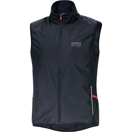 Fitness Gore Bike Wear understands that the demands of proper temperature regulation for cold weather cycling aren't all that different from many other aerobic high-altitude pursuits, like ski touring or snowshoeing. Thus, Gore's new ALP-X AS Insulated Vest follows the principles of an intelligent layering system, while taking a few design cues from hardy backcountry outerwear. The ALP-X AS Insulated Vest is built around Gore's superlative WindStopper fabric, which blocks out wind's most valiant attempts to chill your core. Beneath the membrane, Gore lined the vest with Primaloft synthetic insulation for impressive warmth retention whether you choose to use the vest as a mid-layer for cold rides, or on its own atop a long-sleeve jersey. The beauty of both the Windstopper membrane and Primaloft is that while they are both exceptionally packable on their own, together, you get a vest that easily stuffs down to a jersey pocket once your ride finally dips below the thermocline.Gore provided two front zippered hand pockets, and two side mesh pockets  the latter of which provide easy accessibility if you're wearing a pack. Reflective piping and logos on both the front and back of the jacket help keep you visible if you're out after dusk. The ALP-X AS Insulated Vest is available in Castle Grey/Black, Navy Blue/Black, and Red/Black, and in sizes Small through XX-Large. It follows Gore's 'Slim' fit delineation, which is an ergonomic profile that leaves you room for lightweight layering. - $110.47