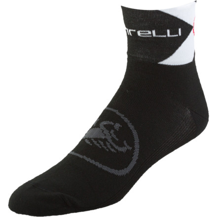 Fitness Castelli likes to offer their customers sock options. They know that some folks have strong opinions on what fibers they want in their socks and it can be hard to get them to change preferences or even try on a sock that isn't quite right. That's why their Classica 6 Socks are made of CoolMax yarn.As the 6 in the name indicates, the Classica has a 6cm cuff that is designed to wear at 6cm or fold down to 3cm. The Castelli Classica 6 Socks come in Black, Red, and White, with the Castelli name and scorpion on the cuff and the scorpion large on the mid-foot. Sizes are Small/Medium, Large/X-Large, and XX-Large. - $6.98