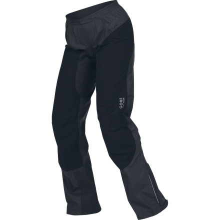 Fitness GORE Bike Wear created the Womens Alp-X Gore-Tex Pant for tough riders who dont back down. This Gore-Tex waterproof, stretchy pant keeps you covered during all kinds of weather while providing ventilation and wicking away perspiration. The high-cut back, pre-shaped knees, and elastic waistband give a comfortable fit, and a back zip pocket holds your car keys. Adjustable leg cuffs let you quickly slip these pants over your shoes and feature hook-and-loop closures to keep the pant leg out of your chain. - $104.98