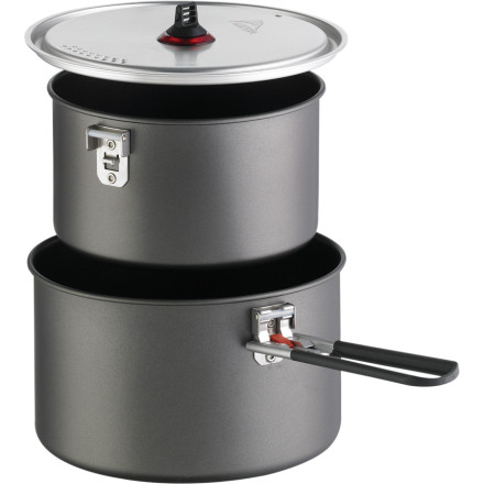 Camp and Hike Do you love to play camp chef but hate scraping burnt leftovers off the bottom of the pan when its time to clean up' You need the MSR Base 2 Pot Set. With two non-stick, anodized aluminum pots, a strainer lid, and a Talon pot grabber, this kit is ideal for everything from a mountaineering basecamp to a weekend backpacking trip. The entire kit nests inside the larger pot, and MSR also included a small PackTowel to avoid scratching the non-stick coating while in transit. - $54.95