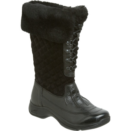Step out in style this winter wearing the Dansko Women's Kassidy Boot. This fun, funky boot features a waterproof leather foot and quilted suede shaft that are fully lined with leather for breathable comfort. A wide, cozy shearling cuff finishes off this soon-to-be indispensable part of your winter wardrobe. - $44.99